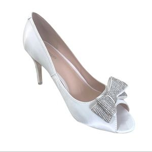 White Satin Silver Rhinestone Bow PeepToe Pumps